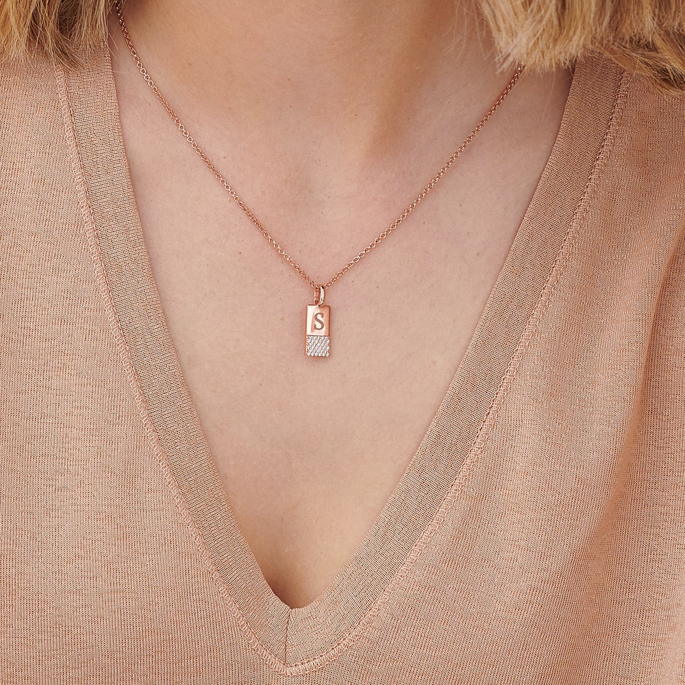 Luna Shimmer Initial Tag Necklace - Rose Gold Plated - 2