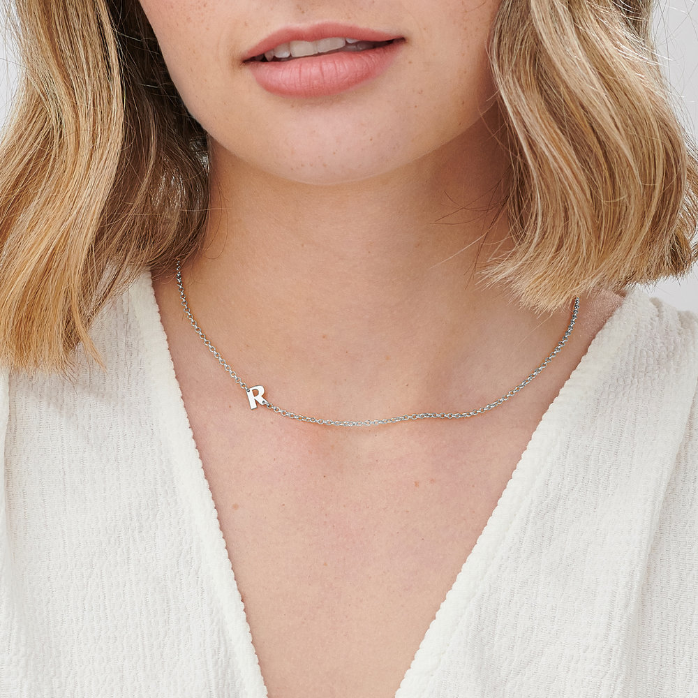 Mini Initial Necklace - Sterling Silver - 3
