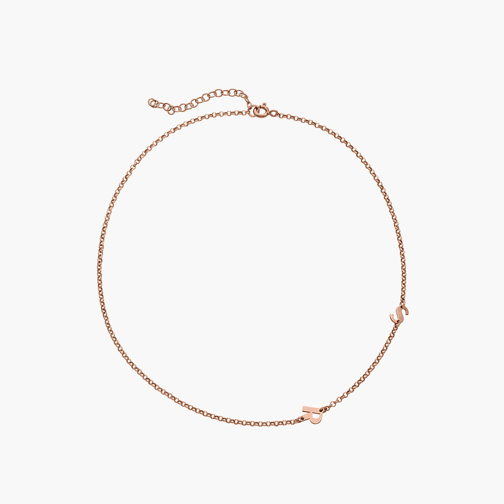 Mini Initial Necklace -  Rose Gold Plated - 1