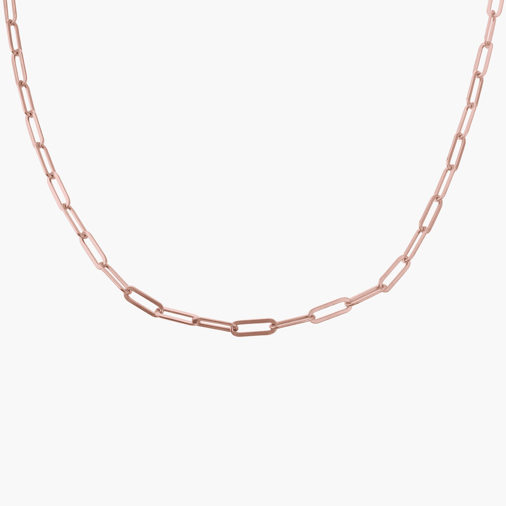Medium Paperclip Chain Necklace - Rose Gold Plating