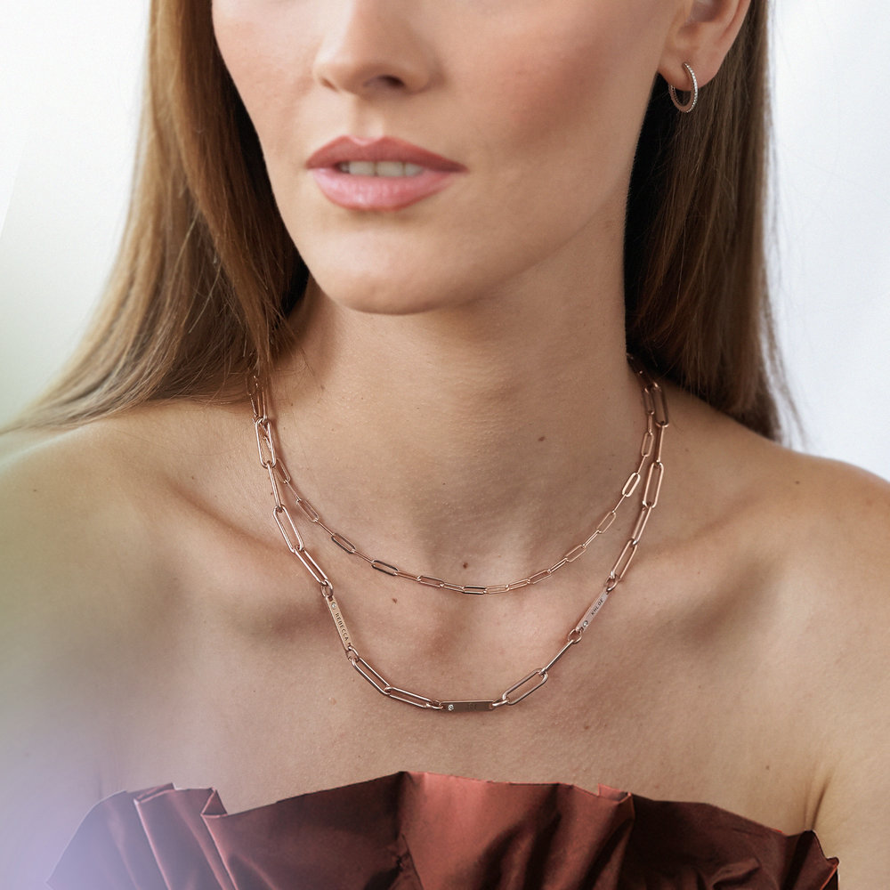 Chain Link Necklace in 18K Rose Gold Plating - 2
