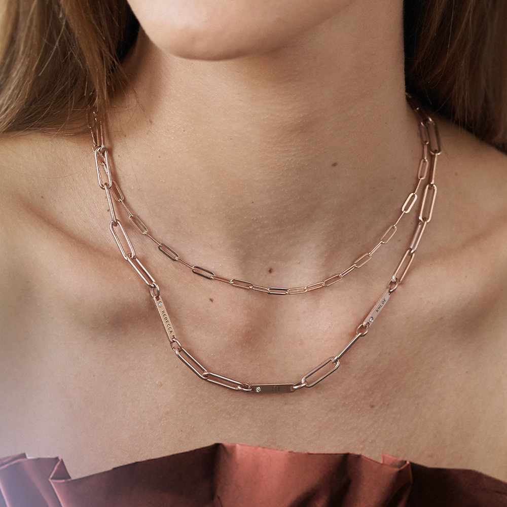 Chain Link Necklace in 18K Rose Gold Plating - 3