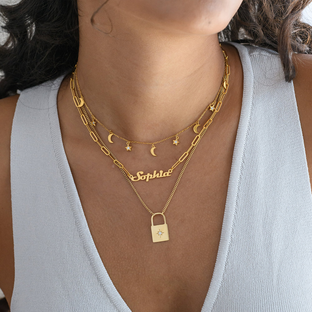Love Letter Lock Chain - Gold Plated - 4