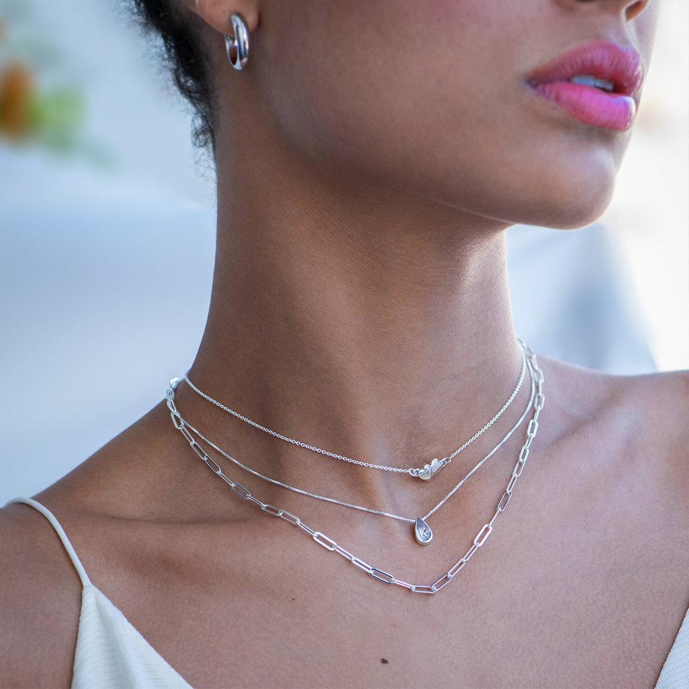 Teardrop Initial Necklace - Sterling Silver - 2