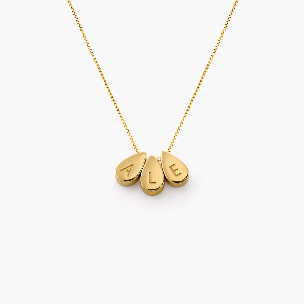 Teardrop Initial Necklace - Gold Plated - 1