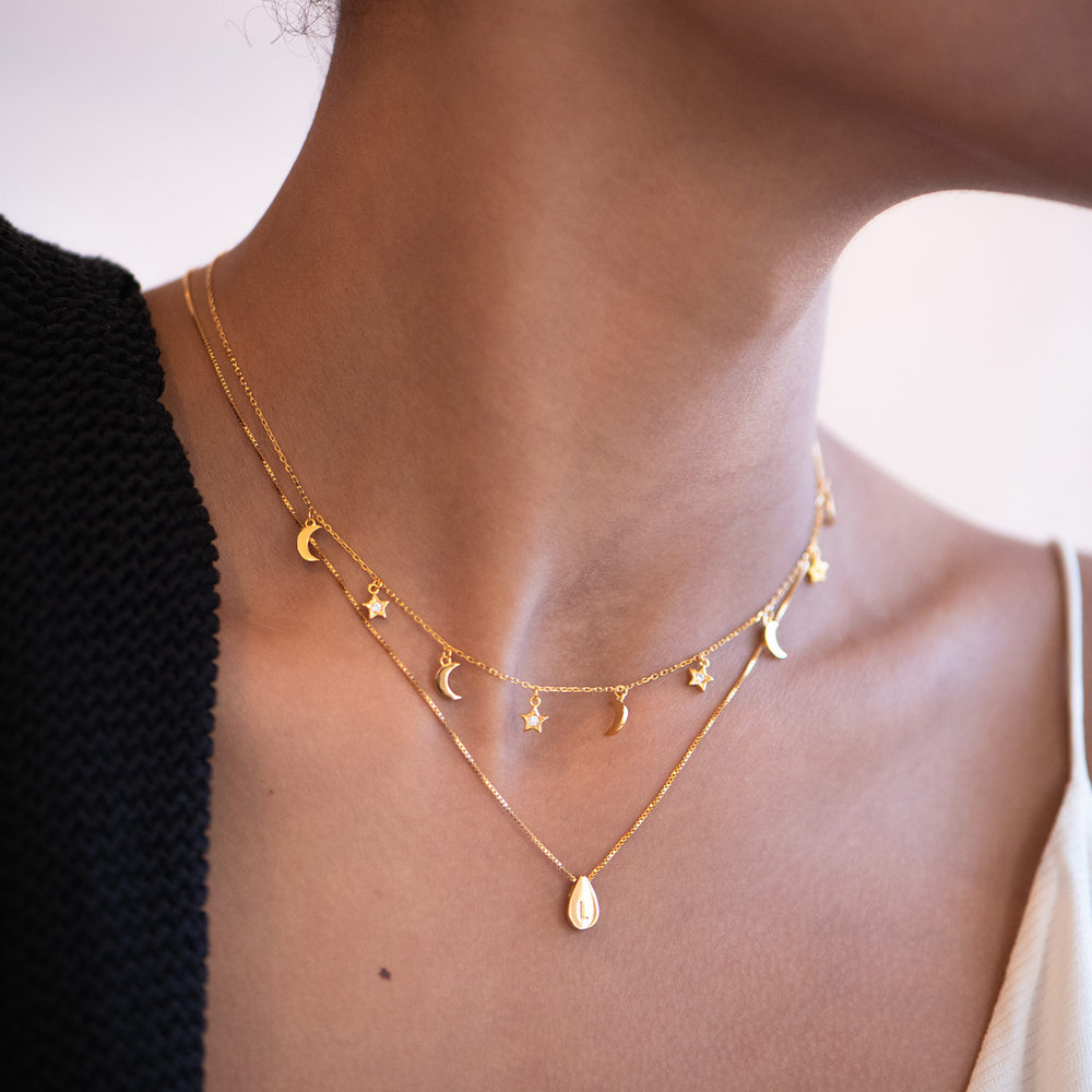 Teardrop Initial Necklace - Gold Plated - 3