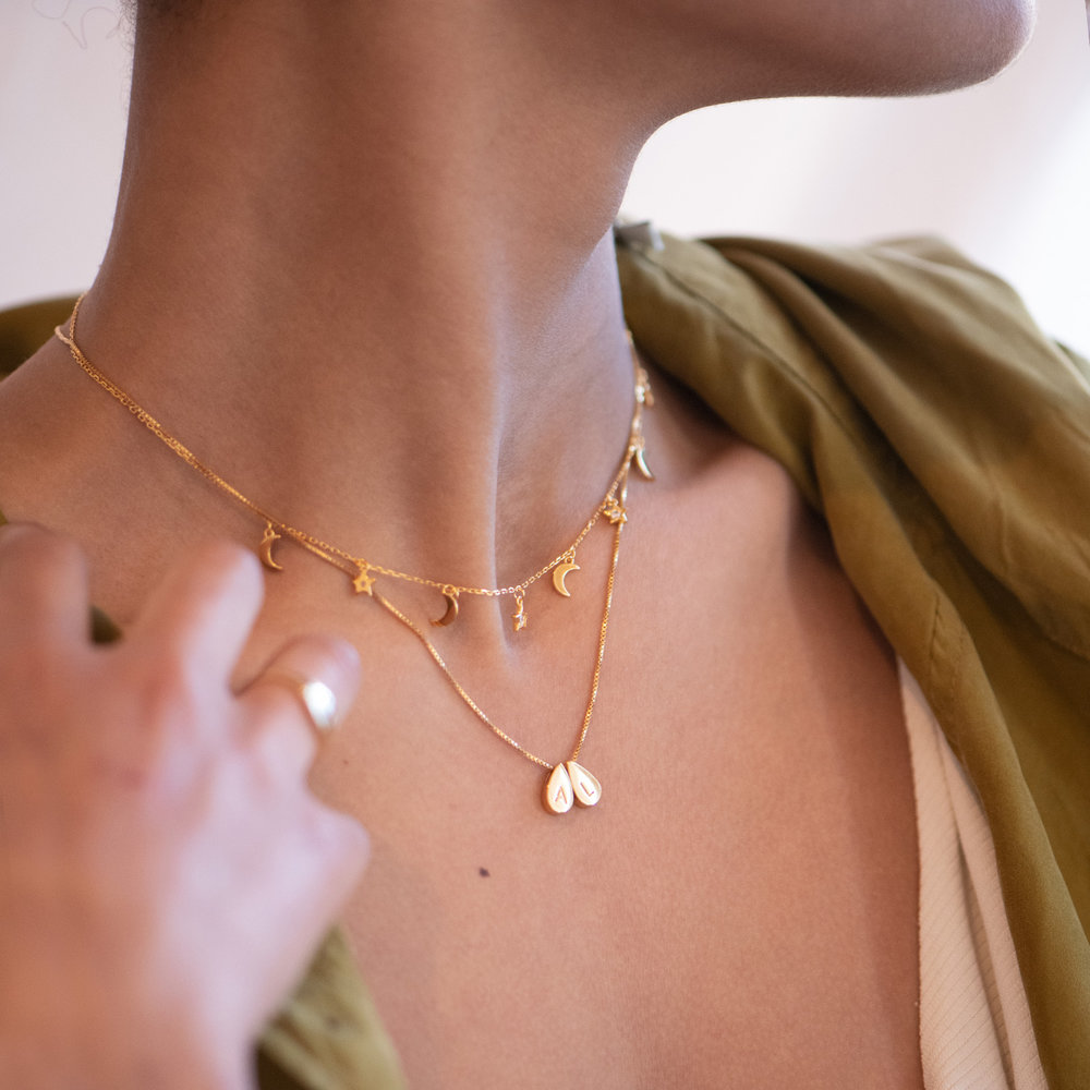 Teardrop Initial Necklace - Gold Plated - 4