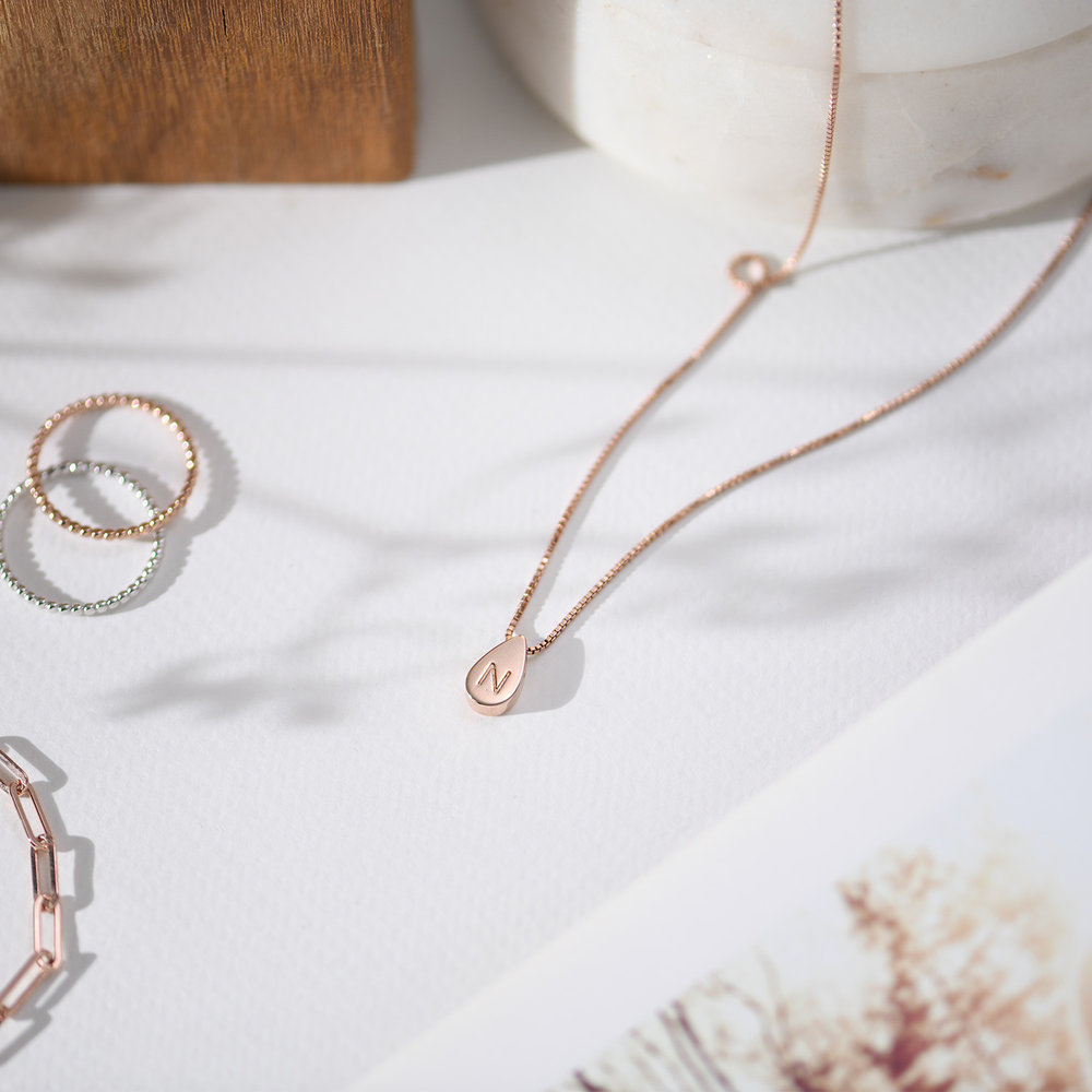 Teardrop Initial Necklace - Rose Gold Plated - 1
