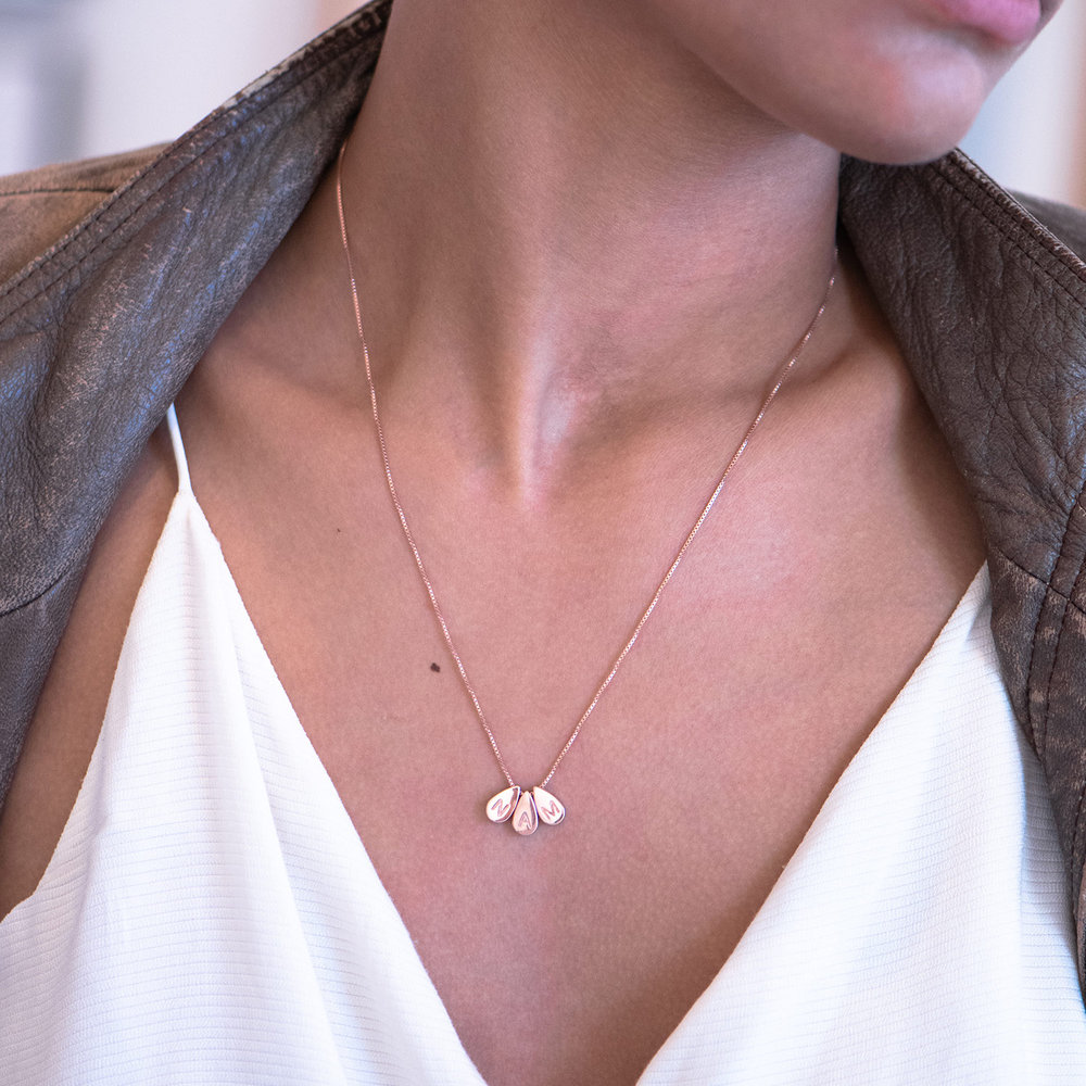 Teardrop Initial Necklace - Rose Gold Plated - 2