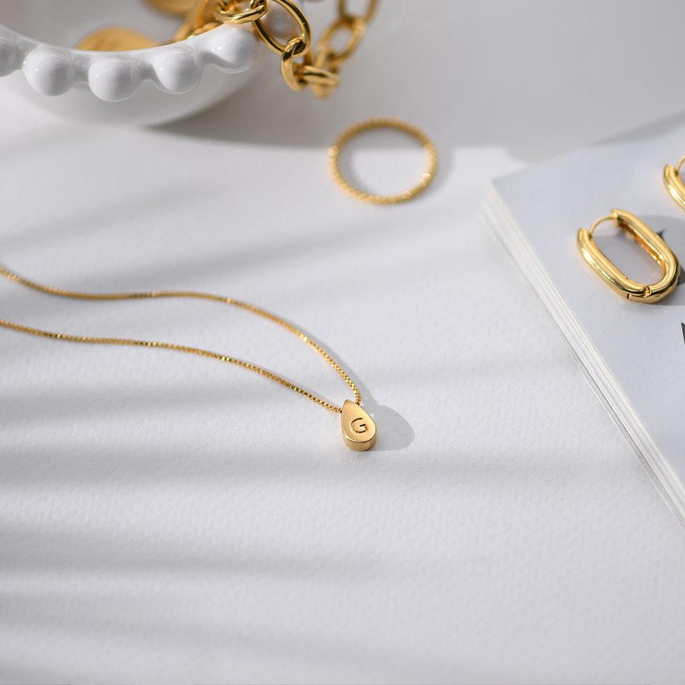 Teardrop Initial Necklace - Gold Vermeil - 2