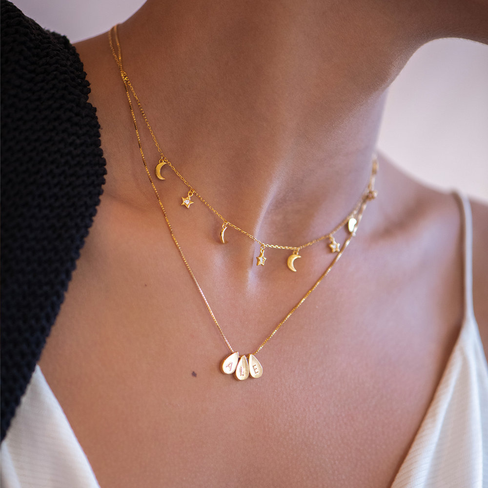 Teardrop Initial Necklace - Gold Vermeil - 4