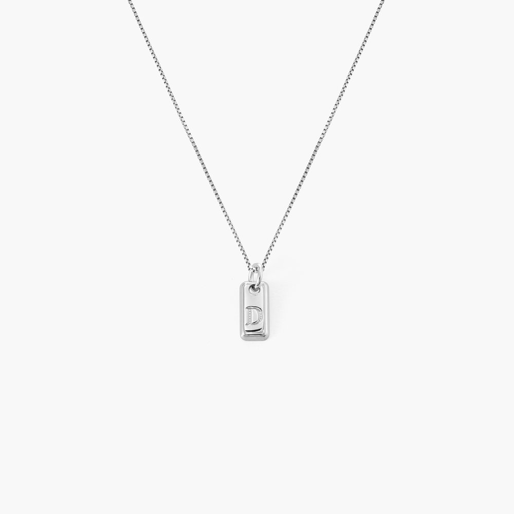 Lucille Initial Tag Necklace - Sterling Silver