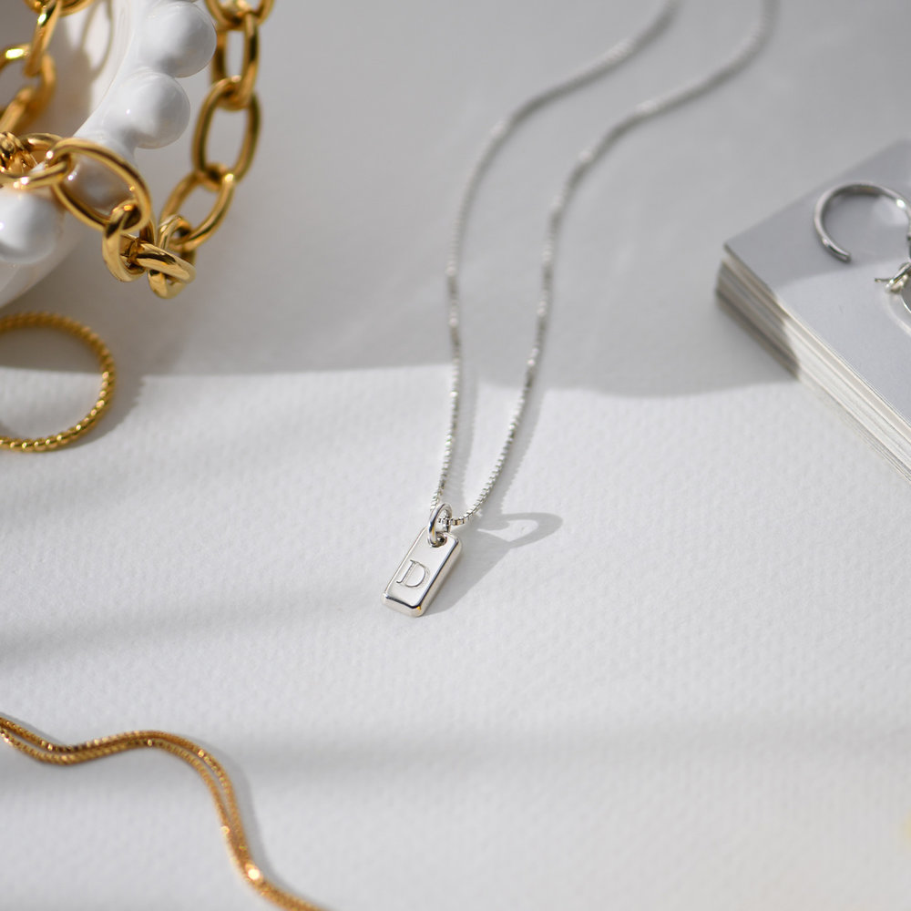 Lucille Initial Tag Necklace - Sterling Silver - 1