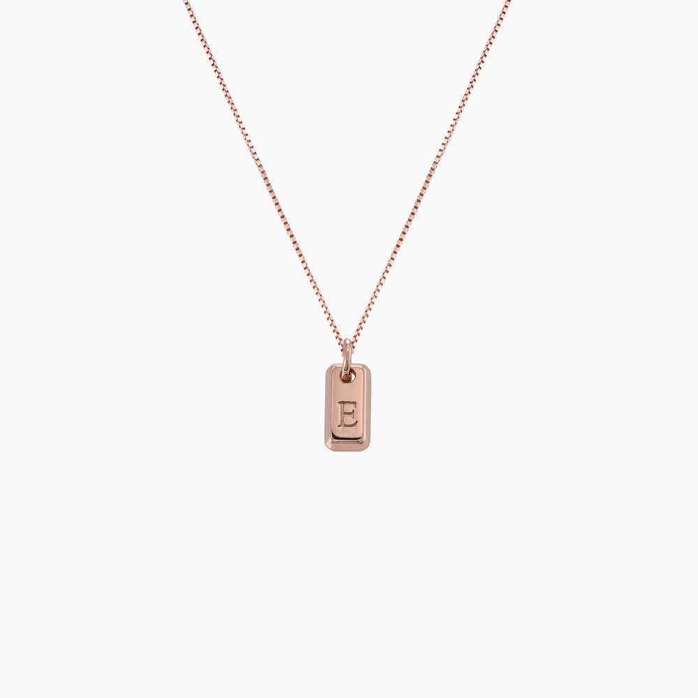 Lucille Initial Tag Necklace - Rose Gold Plated