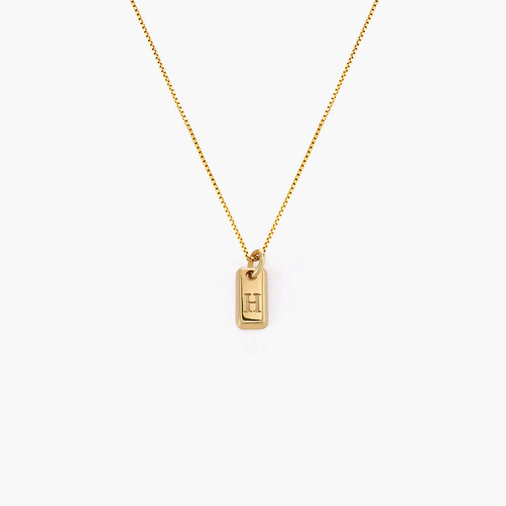 Lucille Initial Tag Necklace - Gold Vermeil