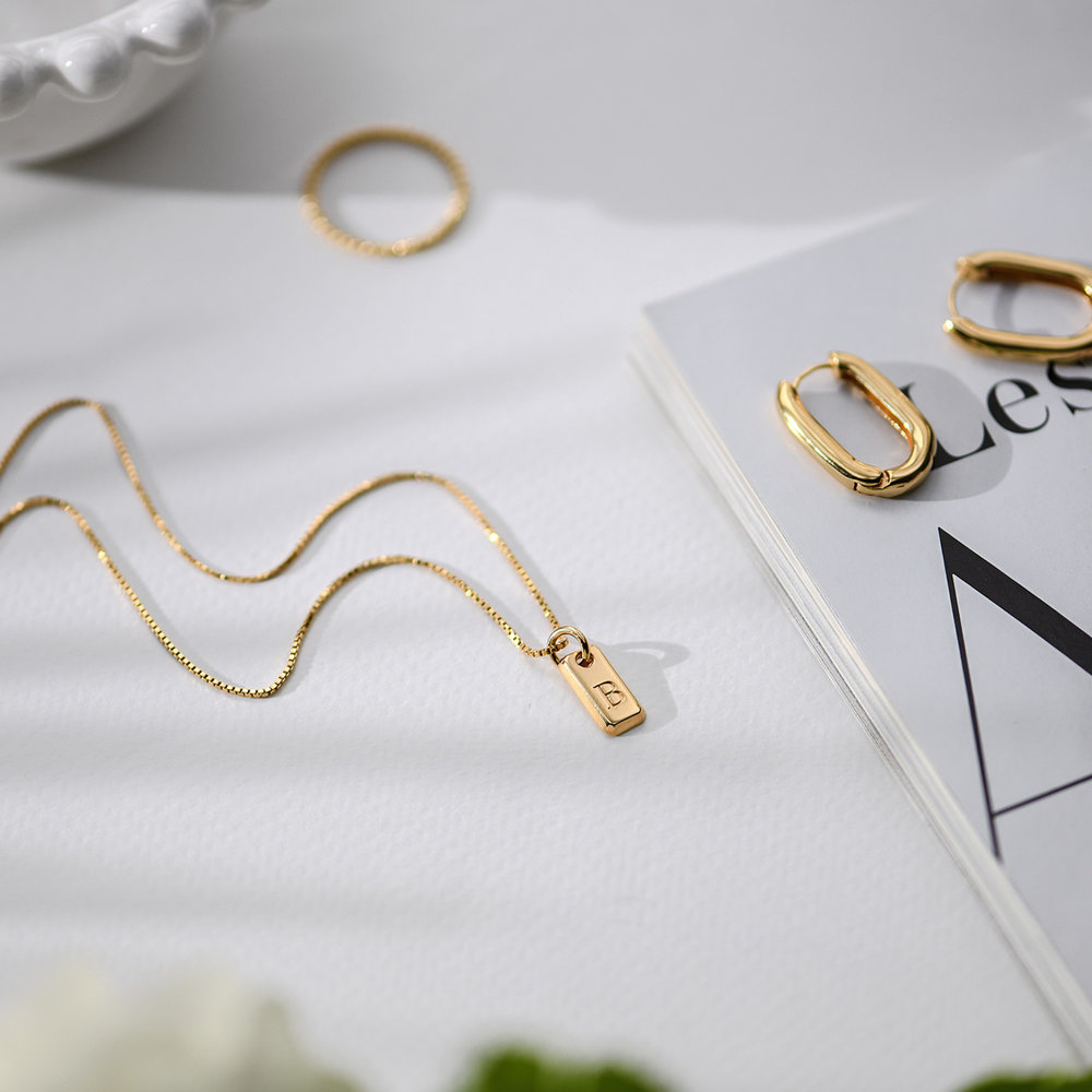 Lucille Initial Tag Necklace - Gold Vermeil - 1