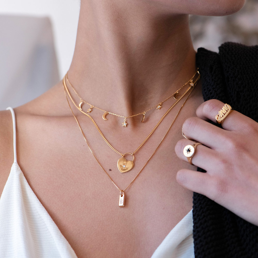 Lucille Initial Tag Necklace - Gold Vermeil - 2