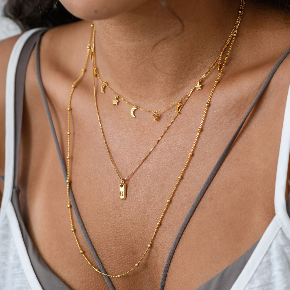 Lucille Initial Tag Necklace - Gold Vermeil - 4