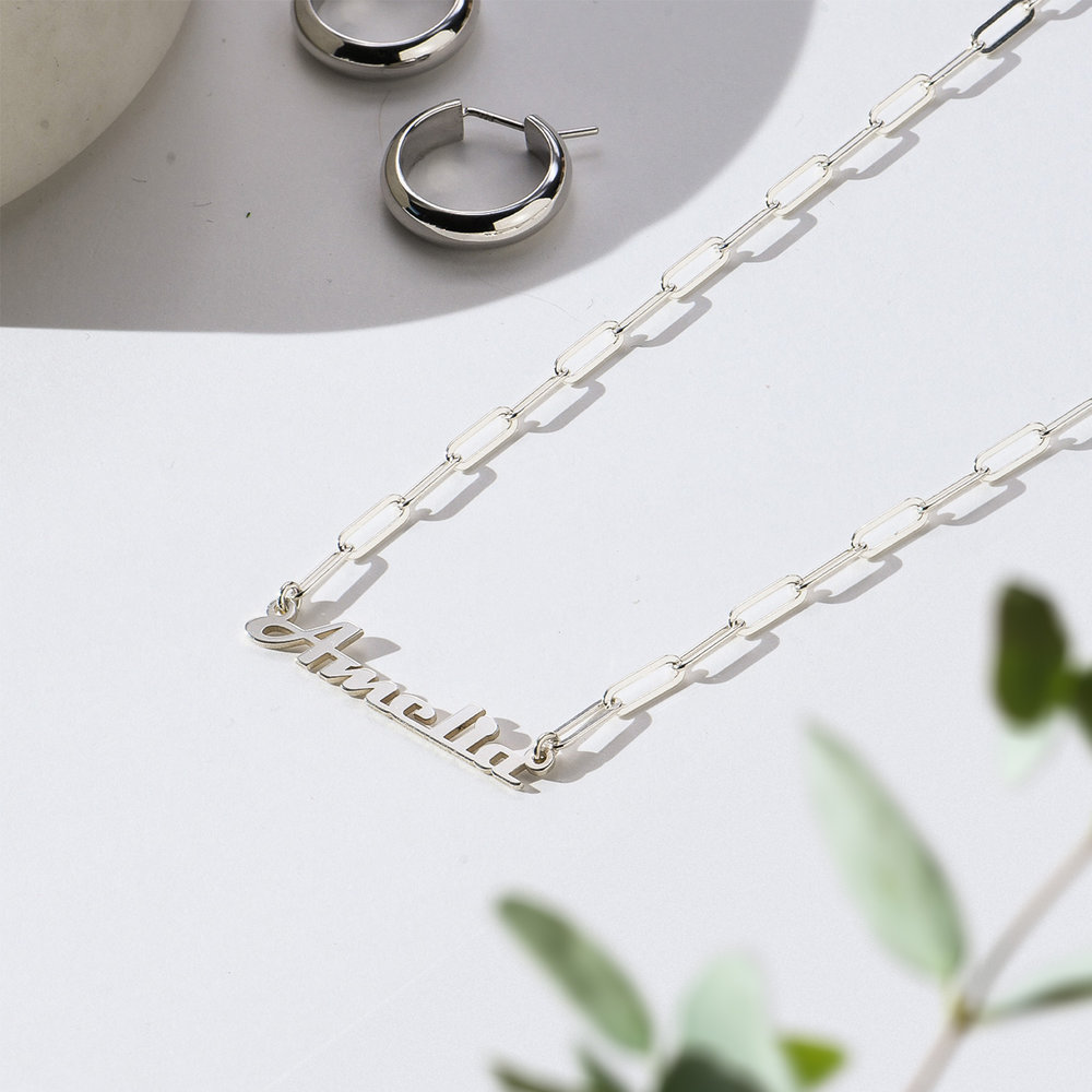 Link Chain Name Necklace - Sterling Silver - 1
