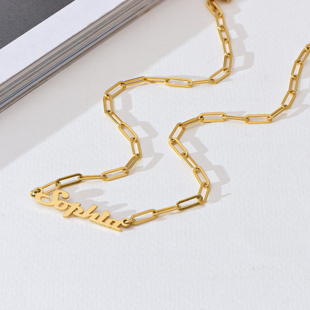 Link Chain Name Necklace - Gold Plated - 1