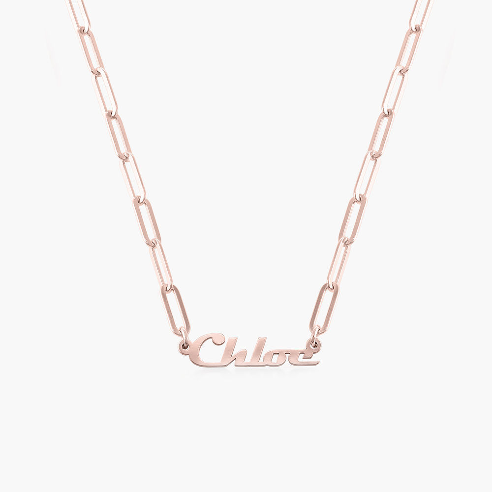 Link Chain Name Necklace - Rose Gold Plated