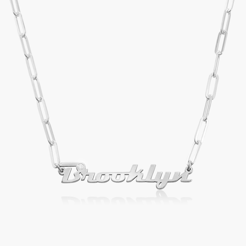 Link Chain Name Necklace with Diamond - Sterling Silver