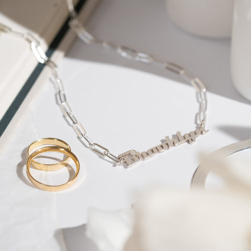 Link Chain Name Necklace with Diamond - Sterling Silver - 1