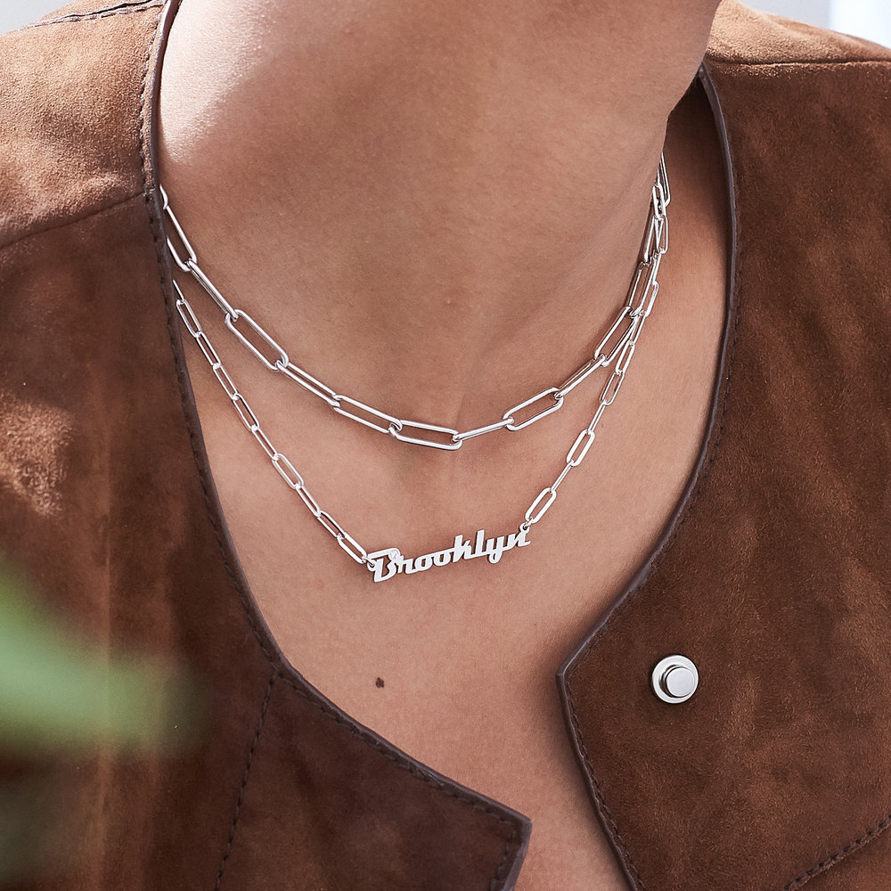 Link Chain Name Necklace with Diamond - Sterling Silver - 3