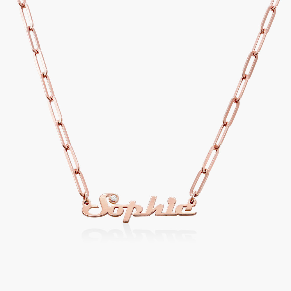 Link Chain Name Necklace with Diamond - Rose Gold Plated