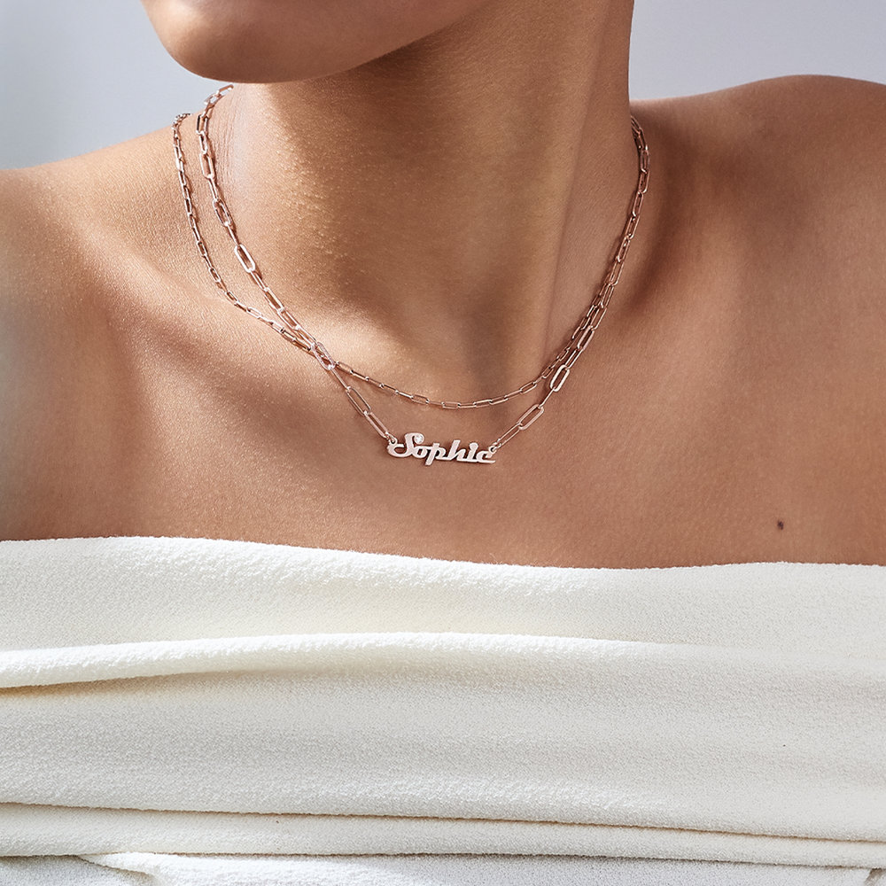 Link Chain Name Necklace with Diamond - Rose Gold Plated - 3