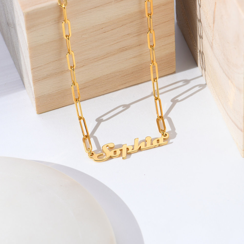 Link Chain Name Necklace - Gold Vermeil - 1