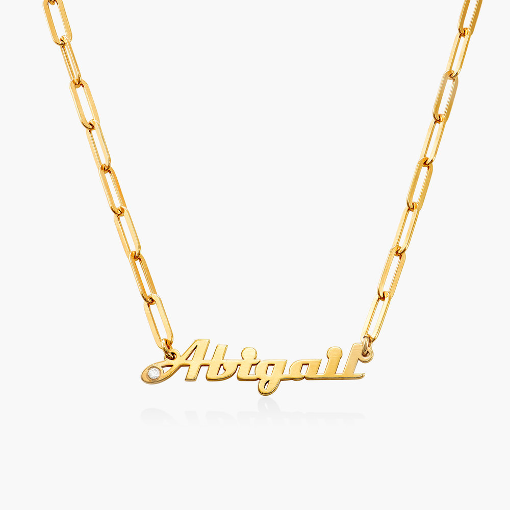 Link Chain Name Necklace with Diamond - Gold Vermeil