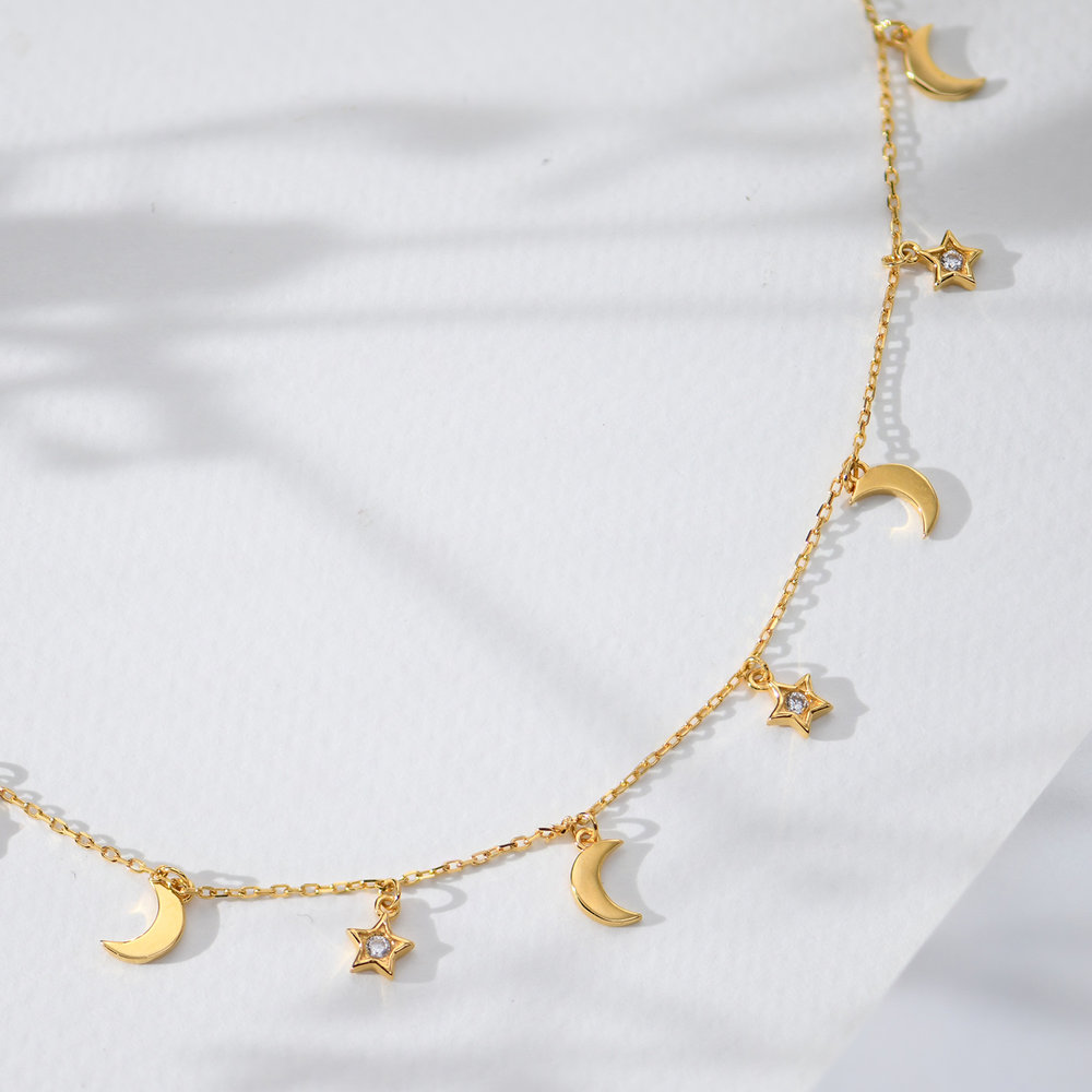 To the Moon and Back Necklace - Gold Plated - 4