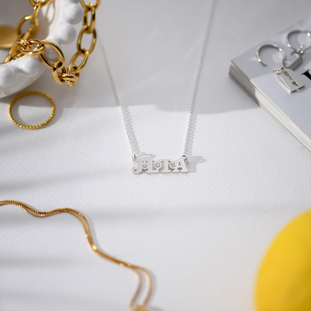 Seeing Double Initials Necklace - Sterling Silver with diamond - 1