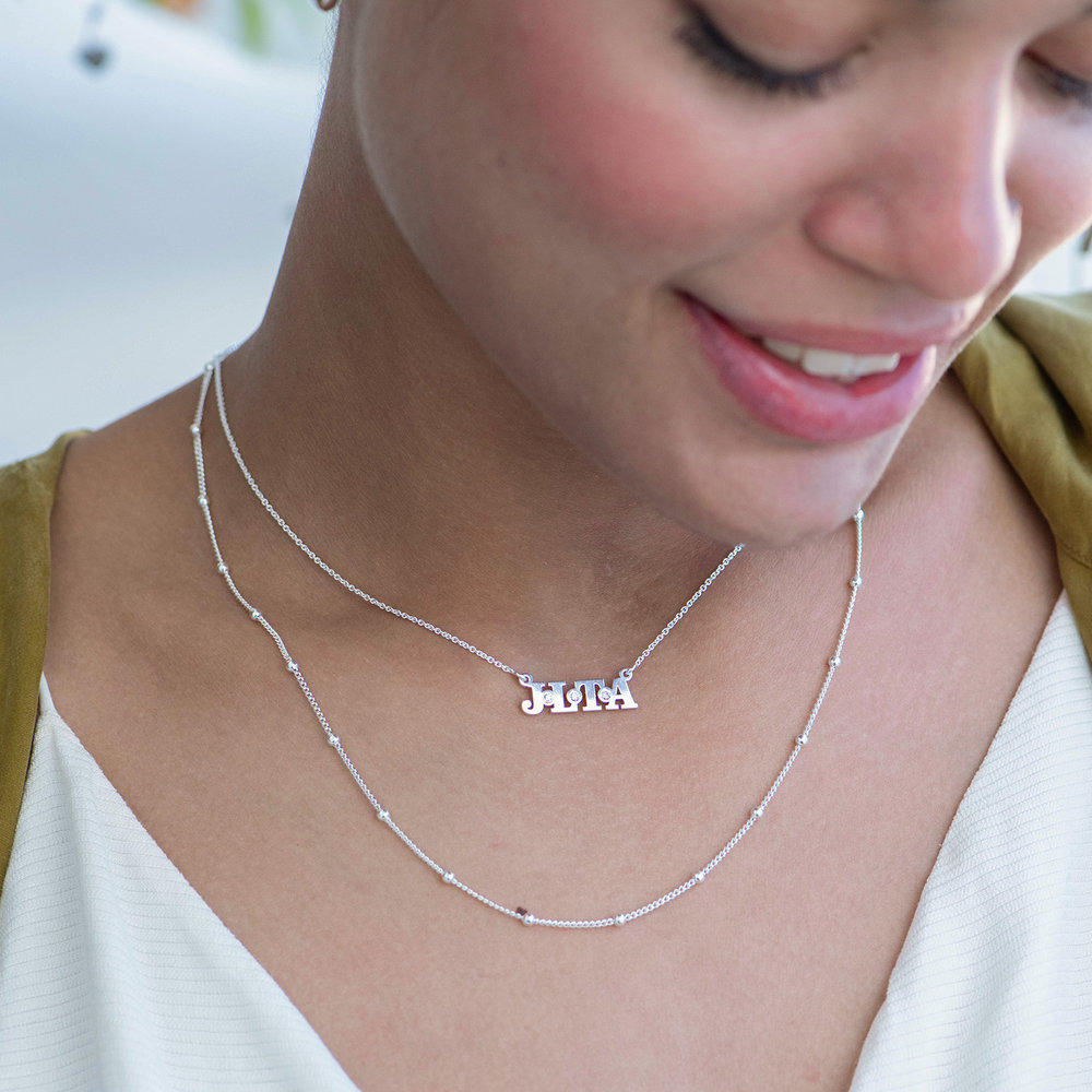 Seeing Double Initials Necklace - Sterling Silver with diamond - 2
