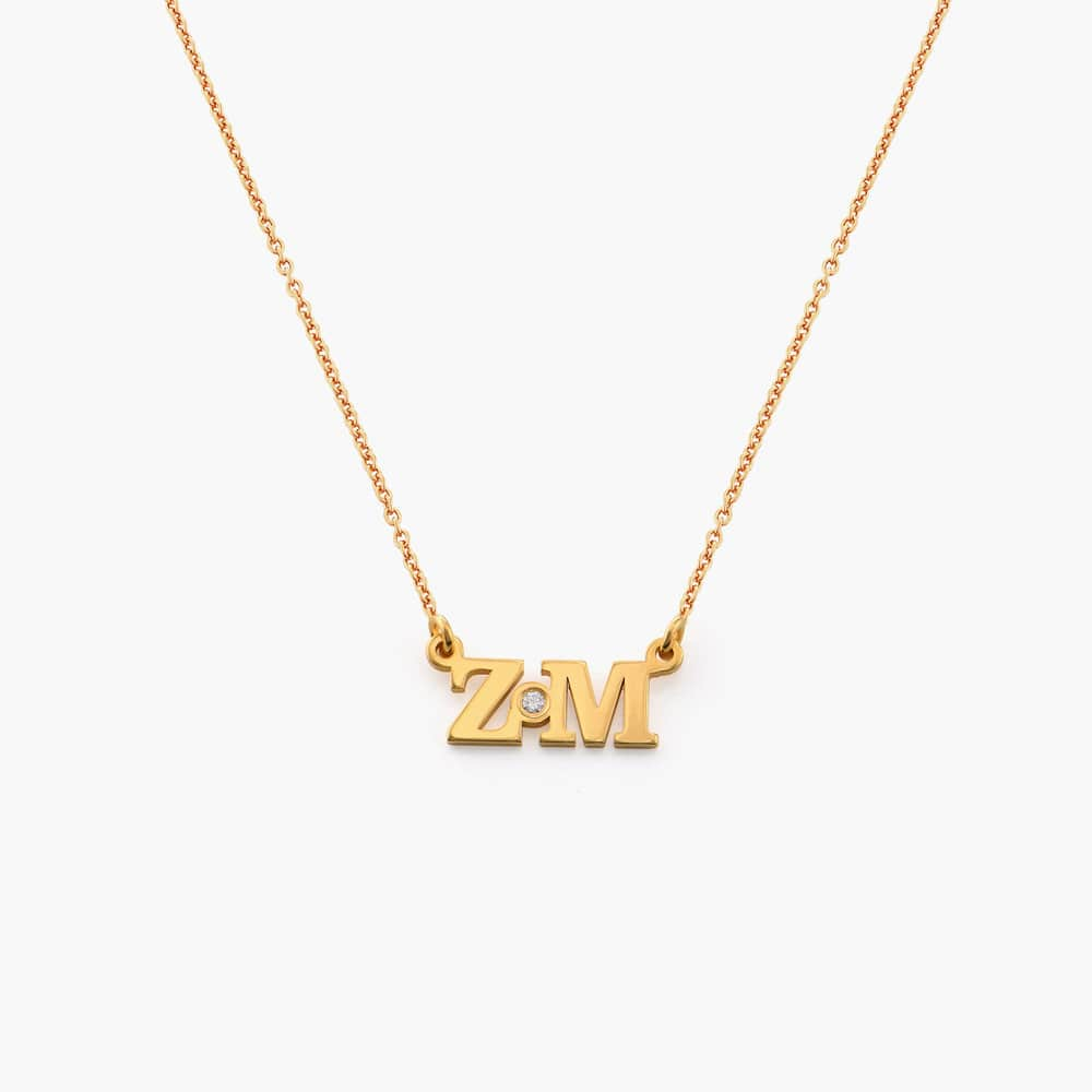 Seeing Double Initials Necklace - Gold Plated with diamond
