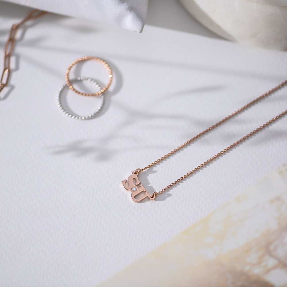 Seeing Double Initials Necklace - Rose Gold Plated with diamond - 1