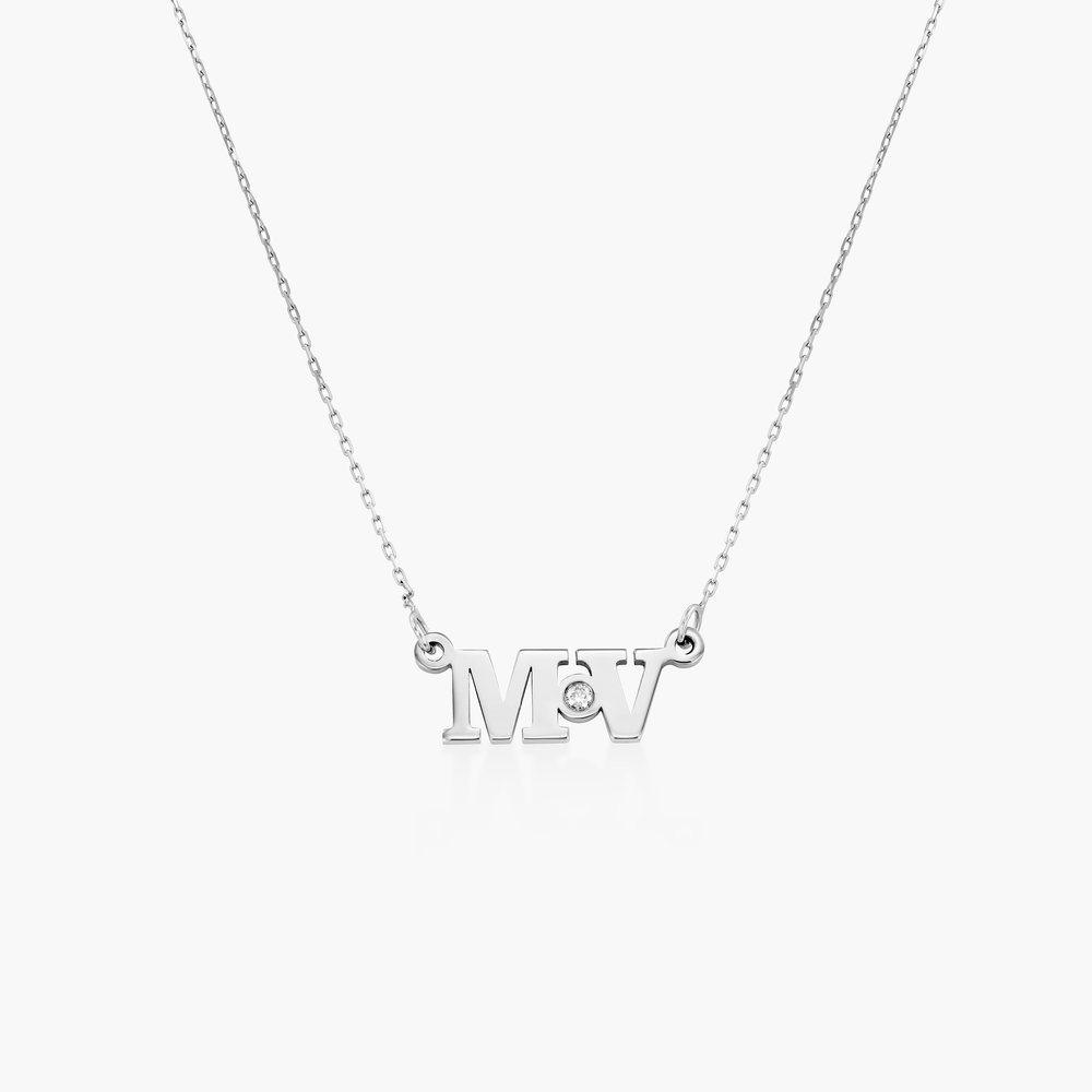 Seeing Double Initials Necklace with Diamond - 10K White Solid Gold