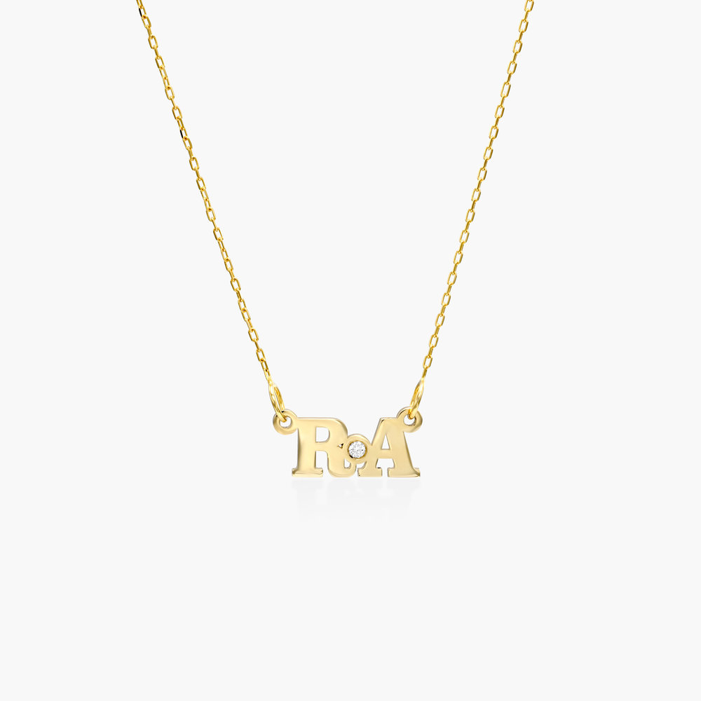 Seeing Double Initial Nacklace- 10K Solid Gold