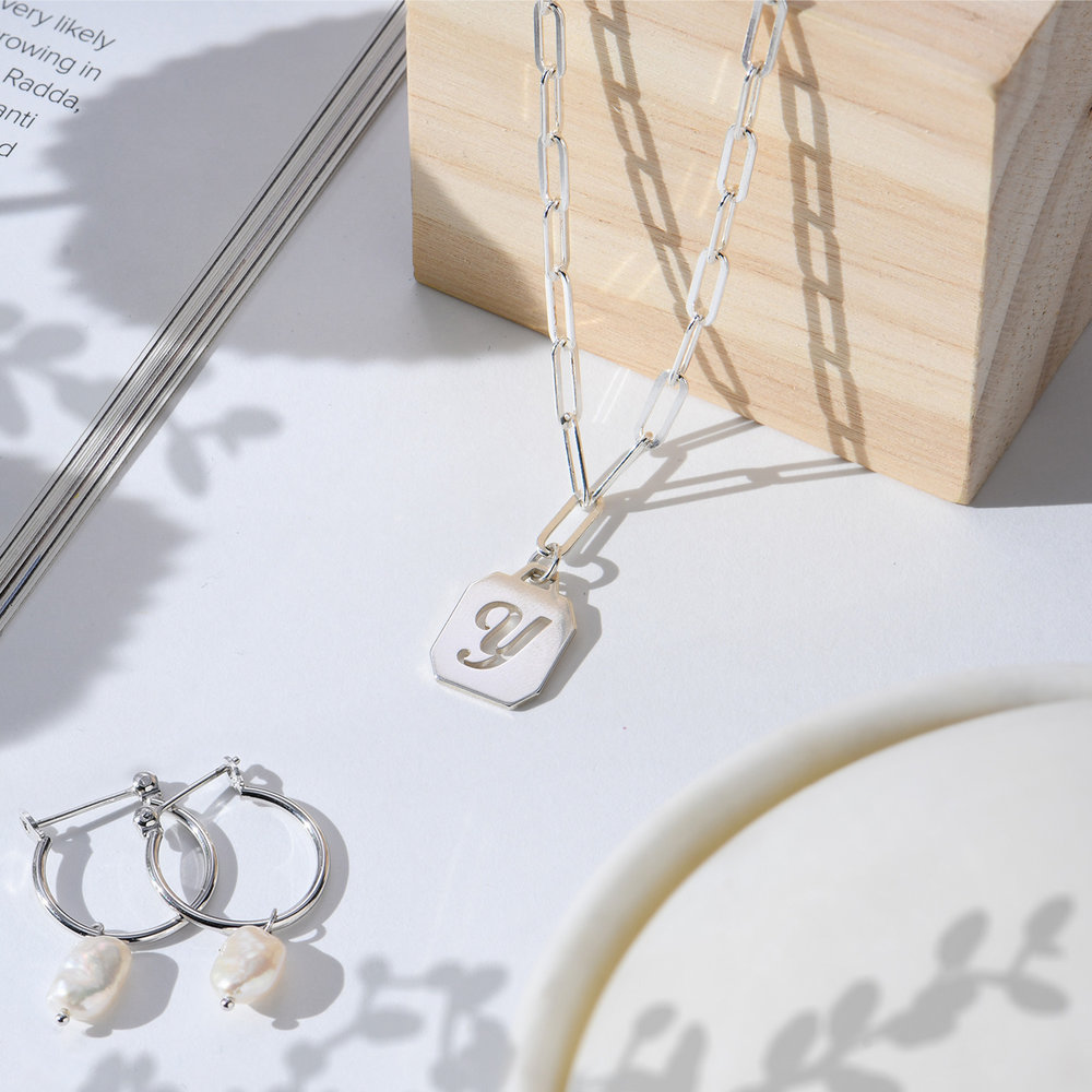 Chain Reaction Initial Necklace - Sterling Silver - 1