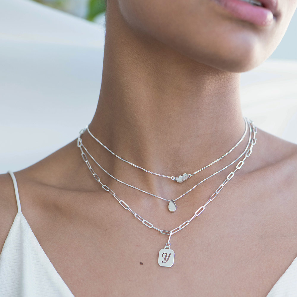 Chain Reaction Initial Necklace - Sterling Silver - 2