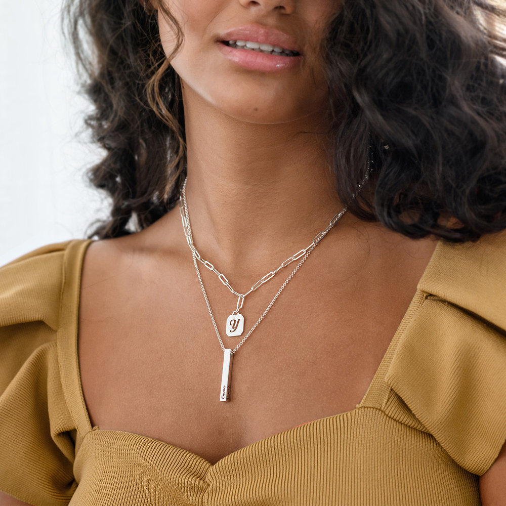 Chain Reaction Initial Necklace - Sterling Silver - 3
