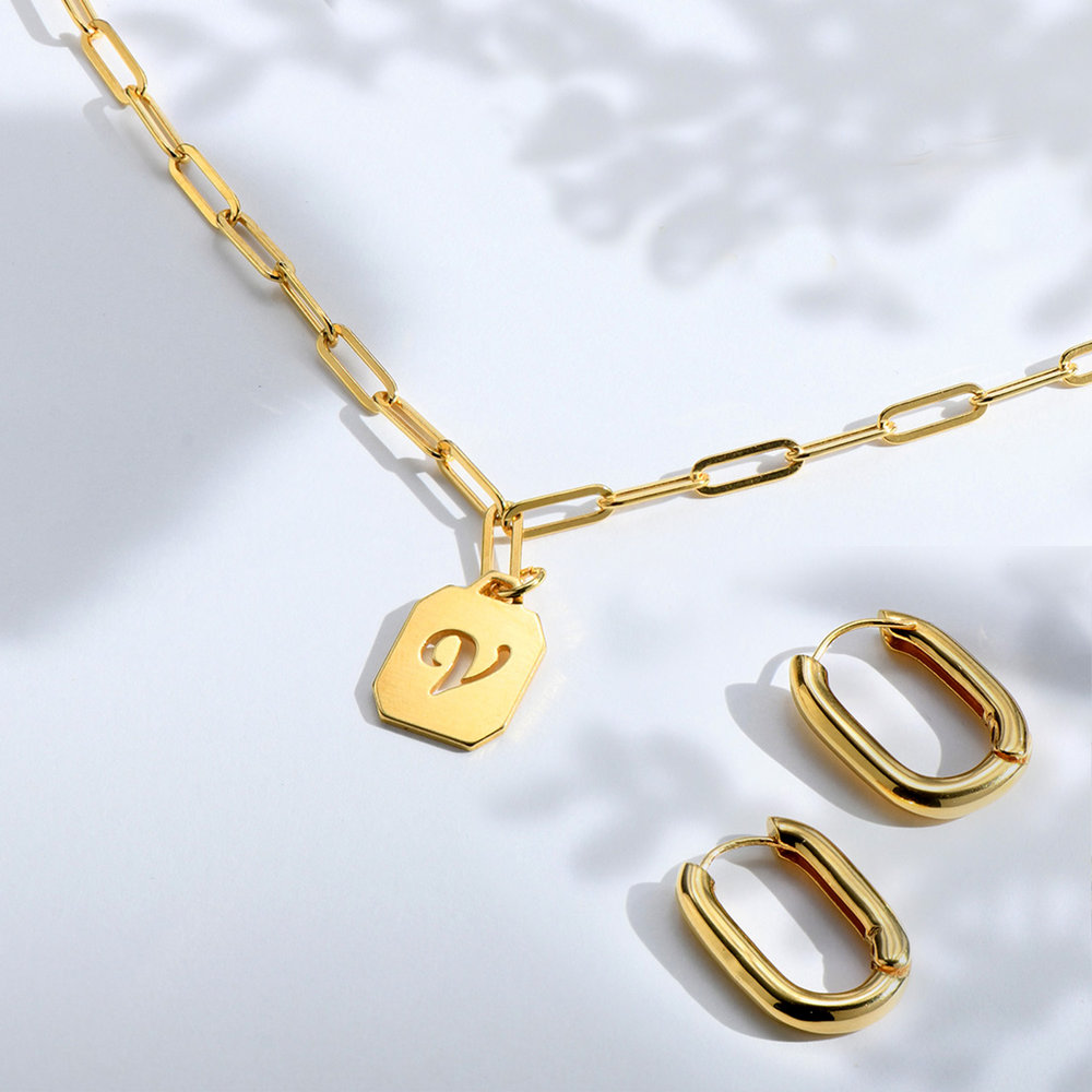 Chain Reaction Initial Necklace - Gold Plated - 1