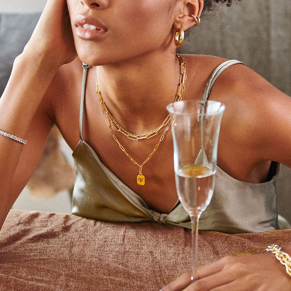 Chain Reaction Initial Necklace - Gold Plated - 3