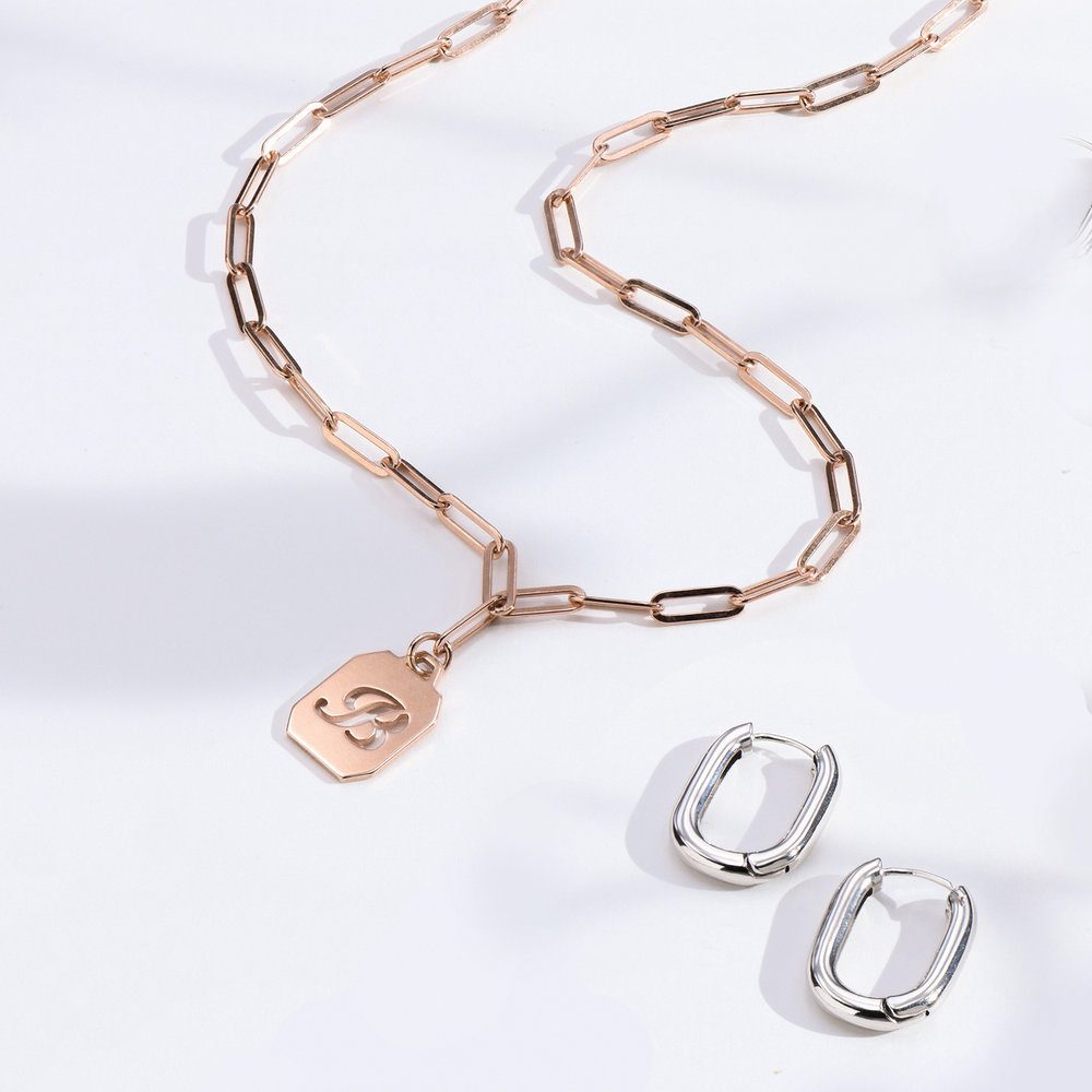 Chain Reaction Initial Necklace - Rose Gold Plated - 1