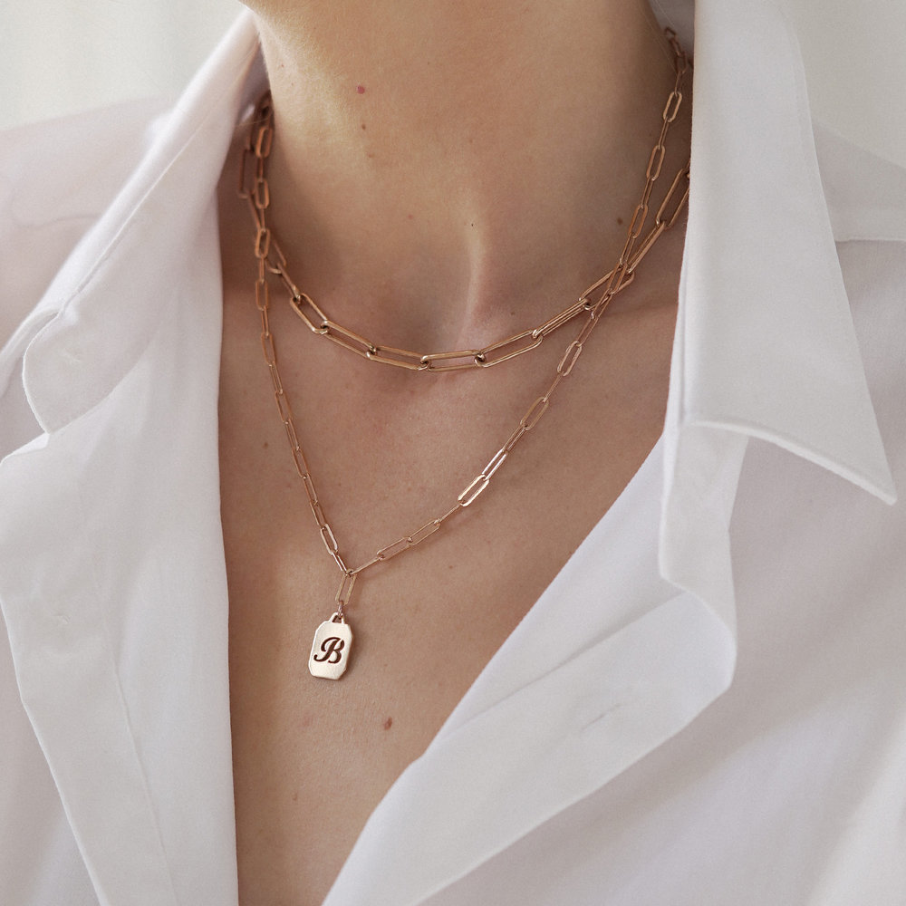 Chain Reaction Initial Necklace - Rose Gold Plated - 3