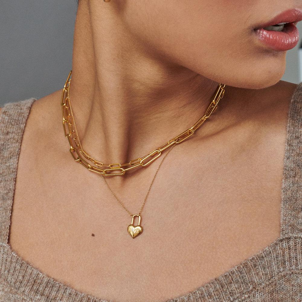 Mini Love Heart Lock Necklace - Gold Vermeil - 1