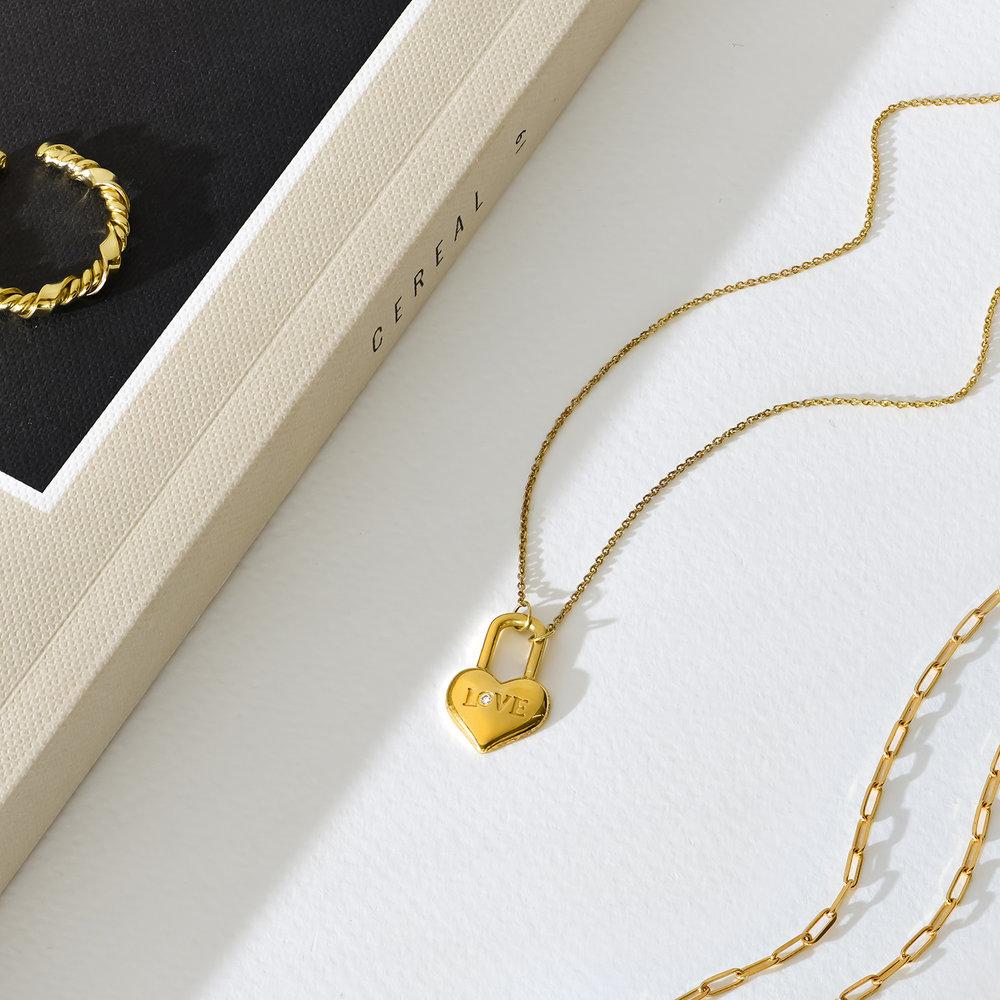 Mini Love Heart Lock Necklace - Gold Vermeil - 4