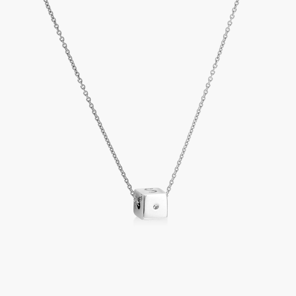 Initial Dice Necklace - Sterling Silver - 1