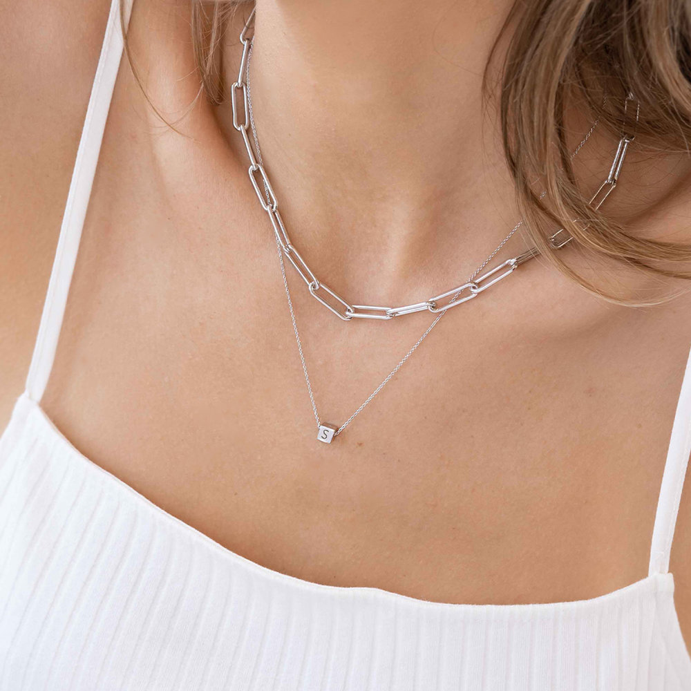 Initial Dice Necklace - Sterling Silver - 4